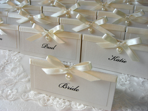 Pearl Heart Placecards