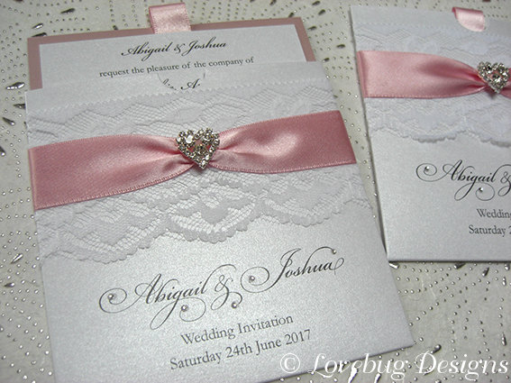 Chantilly Pocket Invitation – Crystal Heart