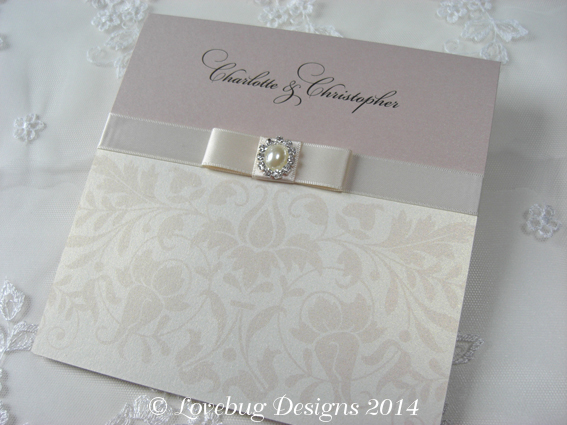 Baroque Pearl Pocket Fold Invitation