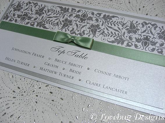 Baroque Table Plan Card – unmounted