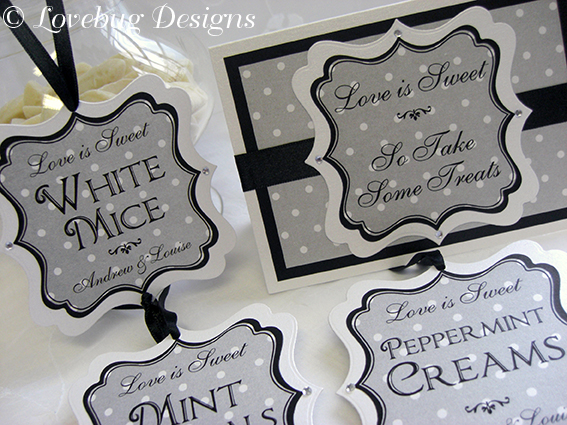 Black & White Polka Dot Sweet Buffet Stationery Set