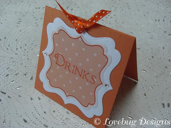 Orange Polka Dot Sweet Buffet Tag