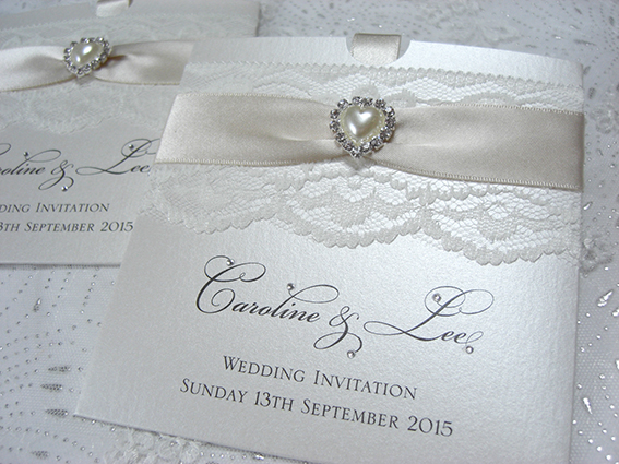 Chantilly Pocket Invite – Pearl Heart