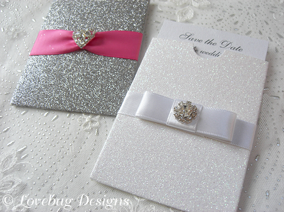 Mini Glitter Pocket Save the Date