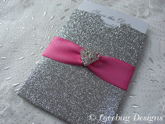 Silver Glitter Mini Pocket Save the Date