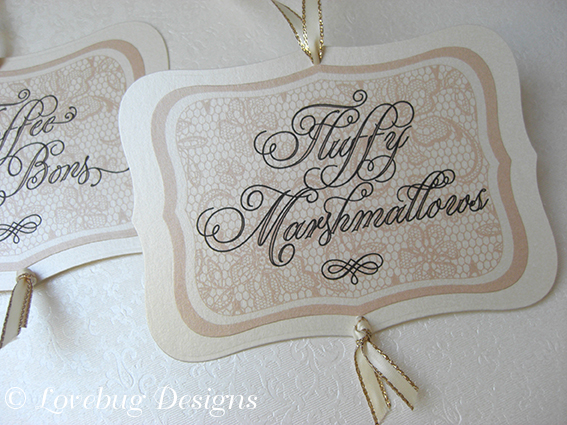 Cream Lace Sweet Buffet Tag