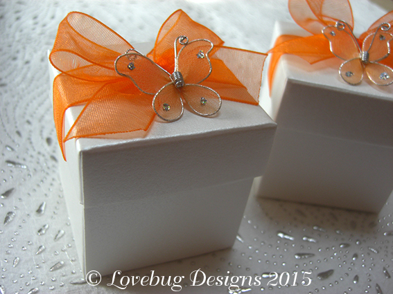 Orange Flutterby Favour Box