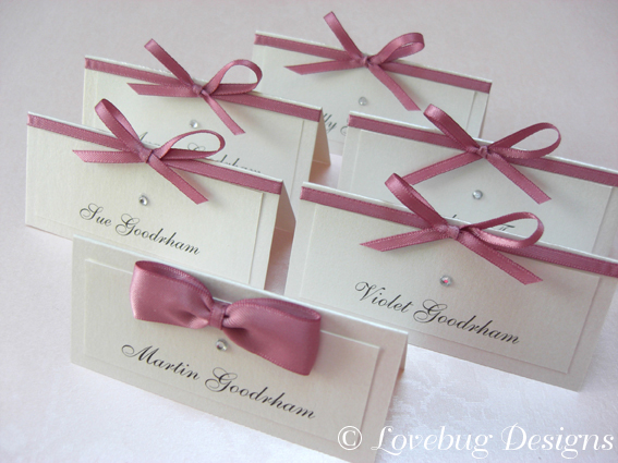 Tied Bow (Ladies) Bow Tie (Men) Place Cards