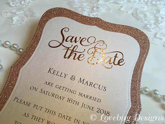 Rose Gold Glitter Vintage Save the Date Card