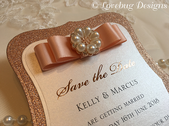 Rose Gold Glitter & Blossom Vintage Save the Date Card