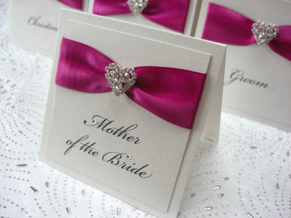 Luxury /crystal Heart Place Cards