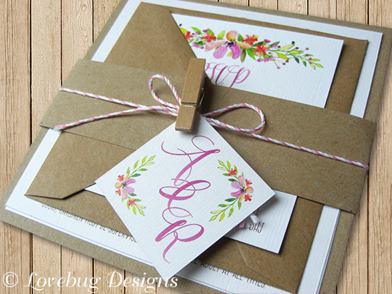 Floral Romance Flat Invitation Bundle