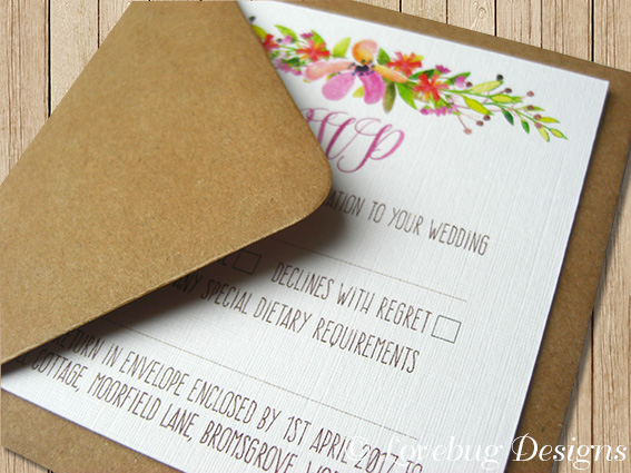 Floral Romance Reply Card