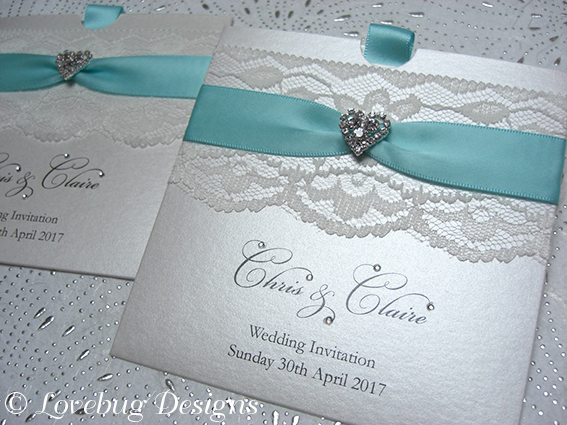 Chantilly Pocket Invitation – Diamante Heart
