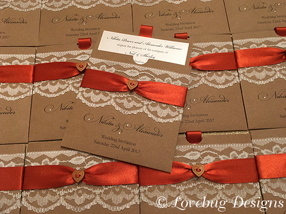 Chantilly Pocket Invitation – Rustic Brown & Burnt Orange