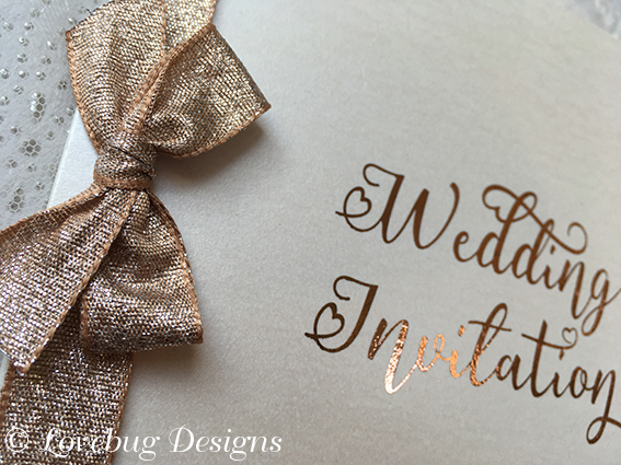 Dazzle Folded Invitation – Rose Gold