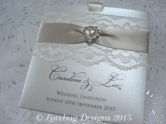 Chantilly Pocket Invitation – Pearl Heart