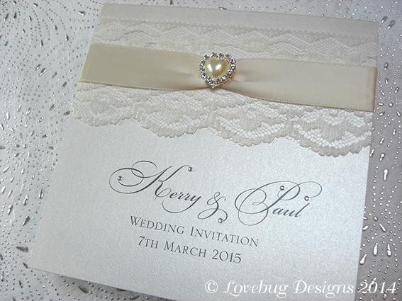 Chantilly Pocket Fold Invitation – Pearl Heart