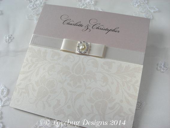 Baroque Pearl Pocket Fold Invitation