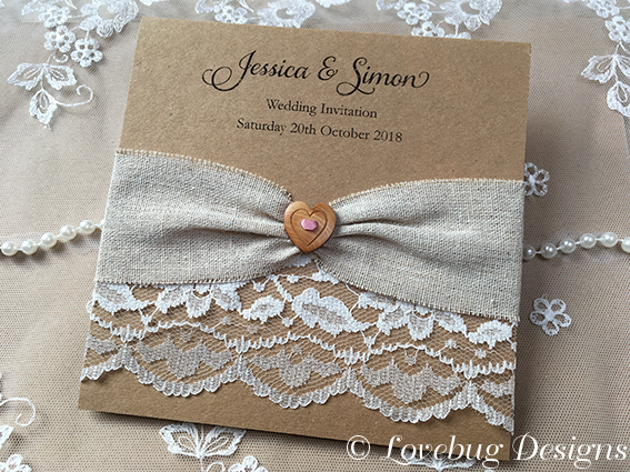 Linen & Lace Pocket Fold Invitation