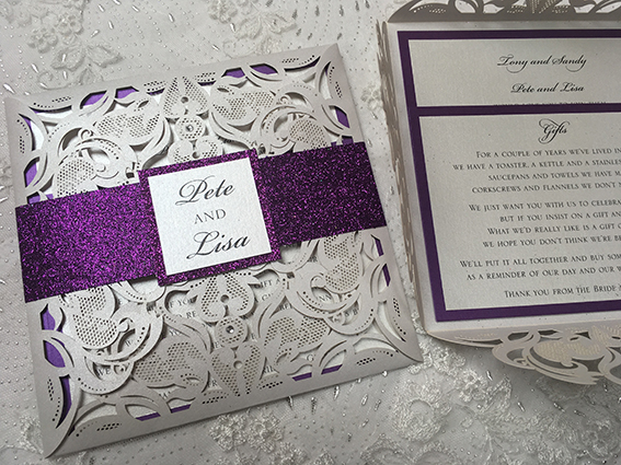 Glitz Laser Cut Pocket Invitation