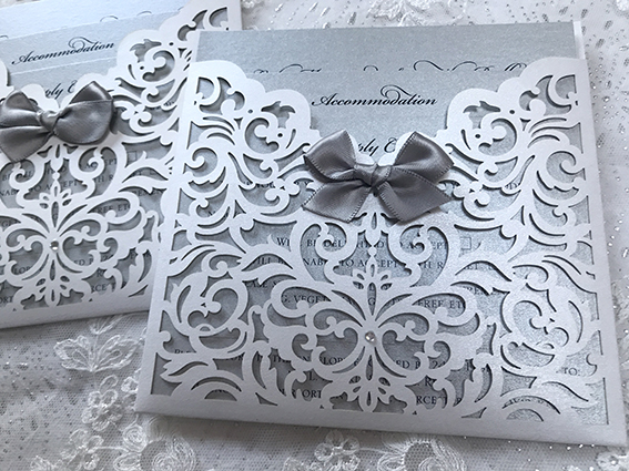Beau Laser Cut Pocket Invitation