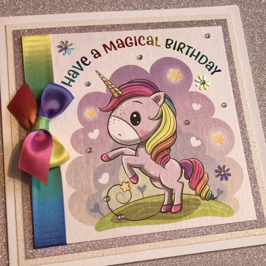 Unicorn Rainbow Birthday Card